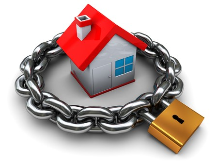 home security system: 3d illustration of house with chain and padlock, home security concept