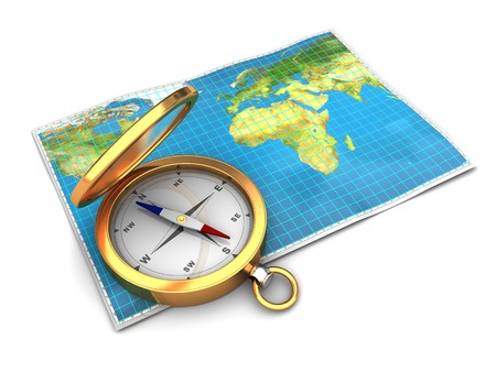 map compass: 3d illustration of world map with compass, over white background