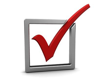 elect: 3d illustration of check-mark over white background