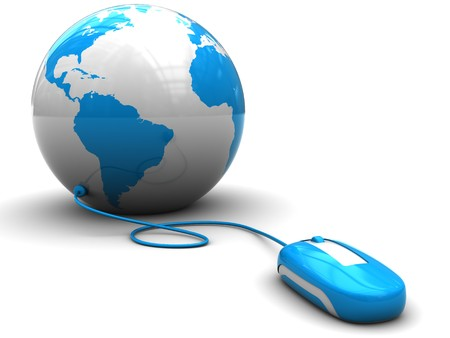 3d illustration of computer mouse connected to earth globe, internet concept illustration