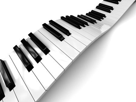 abstract 3d illustration of white background with piano keys