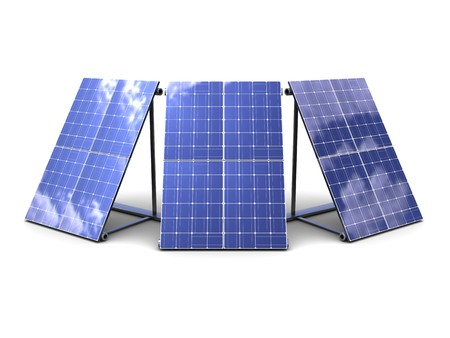 3d illustration of three solar panels over white background