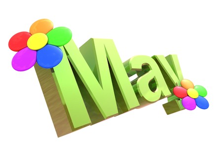 3d illustration of text 'May' with flowers, isolated over white background