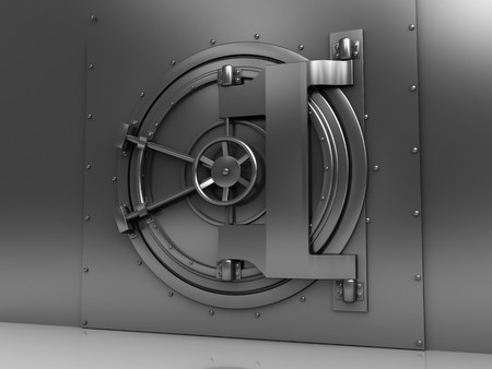 locked: 3d illustration of bank vault steel door