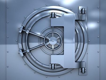 3d illustration of blue metal vault door Stock Photo