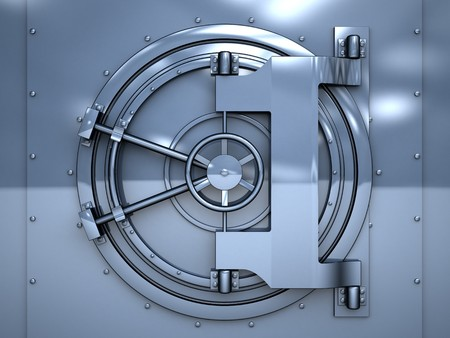 combination lock: 3d illustration of blue metal vault door Stock Photo