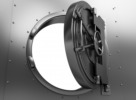 opened: 3d illustration of opened bank vault door, over white background