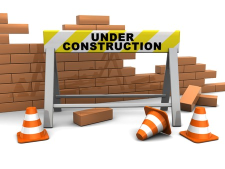 building construction site: 3d illustration of under construction banner and brick wall