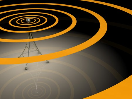 radiative: 3d illustration of broadcasting antenna with radio waves over dark background Stock Photo
