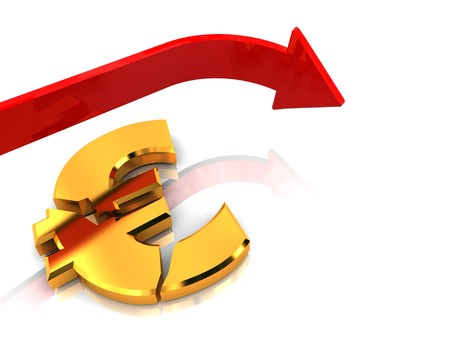 3d illustration of crashed euro sign and falling arrow Stock Illustration - 7008223
