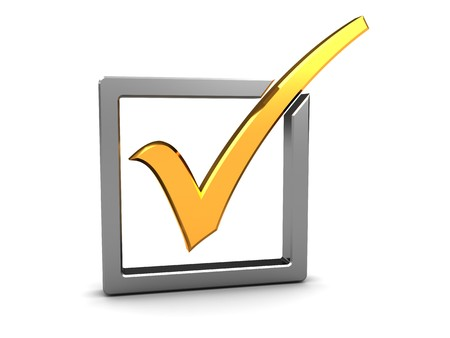 primaries: 3d illustration of golden checkmark and steel checkbox Stock Photo