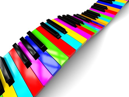 piano: Ilustraci�n 3d abstracto de teclado del piano colorido sobre fondo blanco