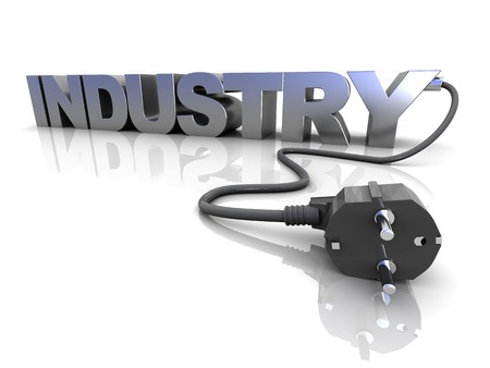 amperage: 3d illustration of text industry with electrical power cord, over white background