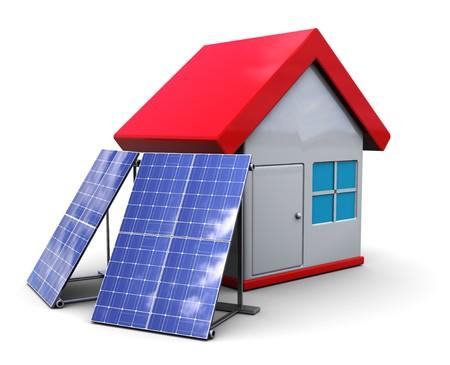 photovoltaik: 3D Abbildung der Haus-Symbol mit Sonnenkollektoren, over white background