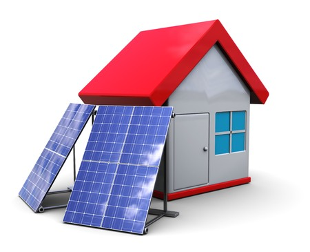 solar symbol: 3d illustration of house symbol with solar panels, over white background