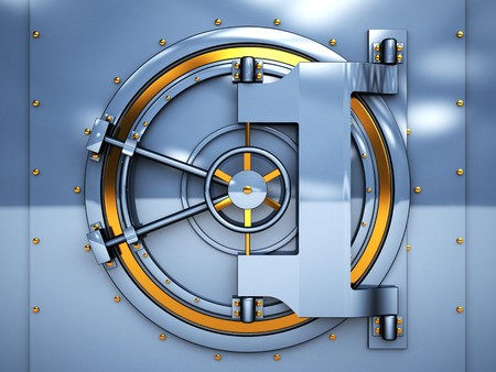combination: 3d illustration of vaulted bank door, blue and golden metal