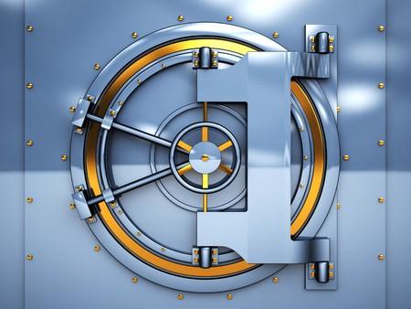 safe investments: illustrazione 3D di sportello bancario con soffitto a volta, metallo dorato e blu Archivio Fotografico