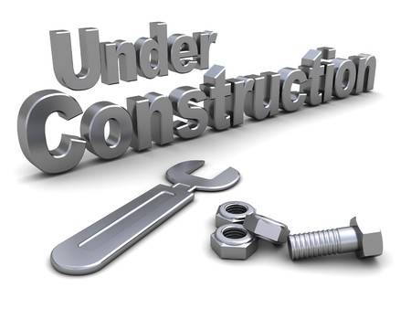 3d illustration of steel text under construction with wrench illustration