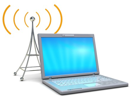 wireles: 3d illustration of laptop computer with wireles antenna communications