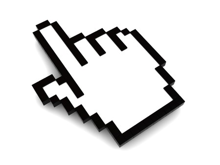 3d illustration of pointing hand mouse cursor, over white background