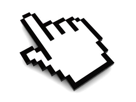 curseur souris: illustration 3D de pointer le curseur de souris de main, sur fond blanc