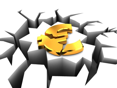 breaking down: 3d illustration of euro crashed, european crisis concept