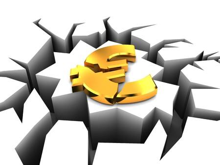 3d illustration of euro crashed, european crisis concept Stock Illustration - 7022230