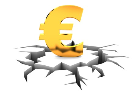 abstract 3d illustration of euro sign crashed Stock Illustration - 7022217