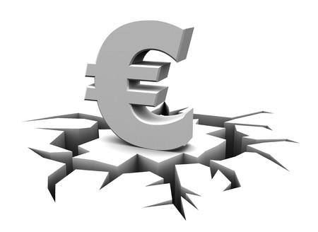 3d illustration of crashed euro sign over white background Stock Illustration - 7022218