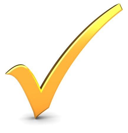 evaluacion: Ilustraci�n 3D de marca de verificaci�n dorada sobre fondo blanco