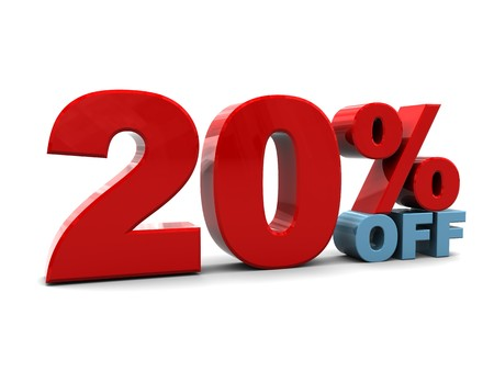 3d illustration of 20 percent discount sign, over white background illustration