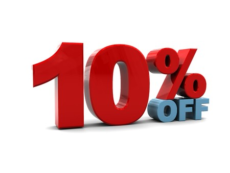 3d illustration of ten percent discount sign, over white background illustration