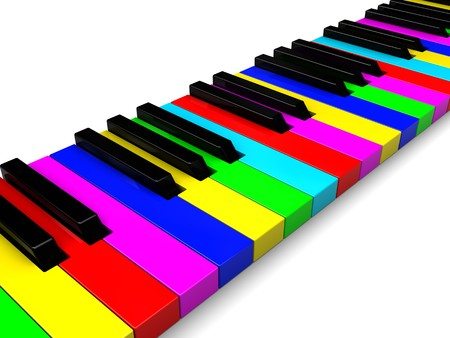 abstract 3d illustration of colorful piano keyboard Stock Illustration - 7022242