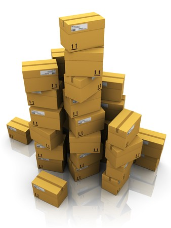 stockpiling: 3d illustration of cardboard boxes heap, over white background Stock Photo