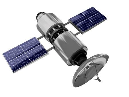 antena parabolica: Ilustraci�n 3D de sat�lite aislado sobre fondo blanco Foto de archivo