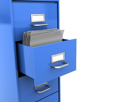 3d illustration of opened office shelf with documents inside Stock Illustration - 7022213