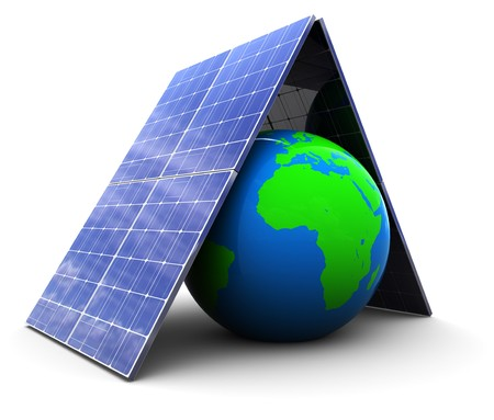 produce energy: 3d illustration of earth protected by solar energy panels