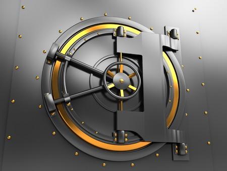 lock out: 3d illustration of bank vault door, dark gray and golden colors Stock Photo