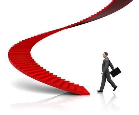 3d illustration of businessman step to stairway, startup concept Stock Illustration - 7080621