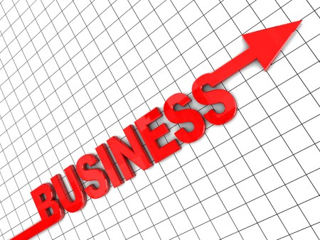 3d illustration of text 'business' with arrow, growing business concept Stock Illustration - 7080660