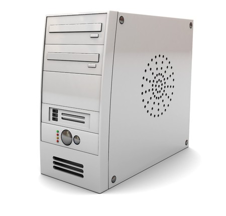 compute: 3d illustration of desktop computer case tower, over white background