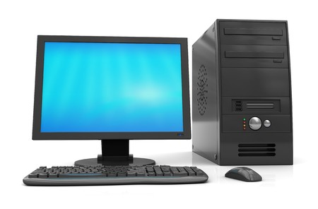 pc case: 3d illustration of black desktop computer over white background
