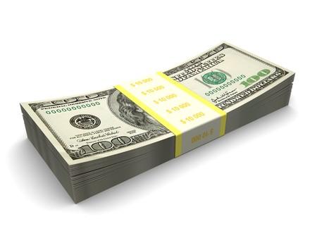 3d illustration of hundred dollar stack over white background Stock Illustration - 7080658