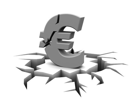 abstract 3d illustration of cracked euro sign, over white background Stock Illustration - 7080622