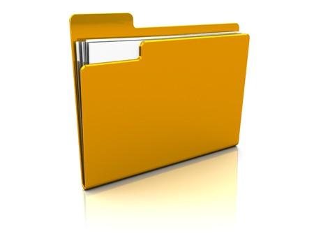 3d illustration of folder icon or symbol with paper sheets inside illustration
