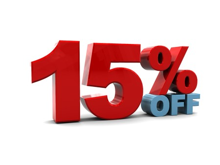 3d illustration of 15 percent discount sign, over white background illustration