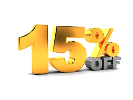 15: 3d illustration of 15 percent discount sign, over white background