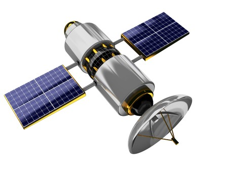 global navigation system: 3d illustration of generic satellite isolated over white background Stock Photo