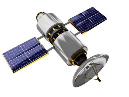 antena parabolica: Ilustraci�n 3D del sat�lite gen�rico aislado sobre fondo blanco  Foto de archivo