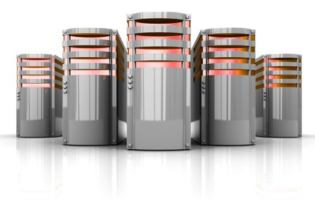 computer generated: 3d illustration of servers row over white background Stock Photo